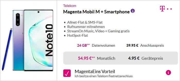 Samsung Galaxy Note 10 + Telekom MagentaMobil M MagenteEINS
