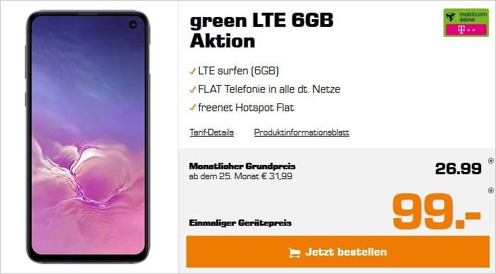 Samsung Galaxy S10e + mobilcom-debitel green LTE 6 GB (Telekom-Netz) bei Saturn