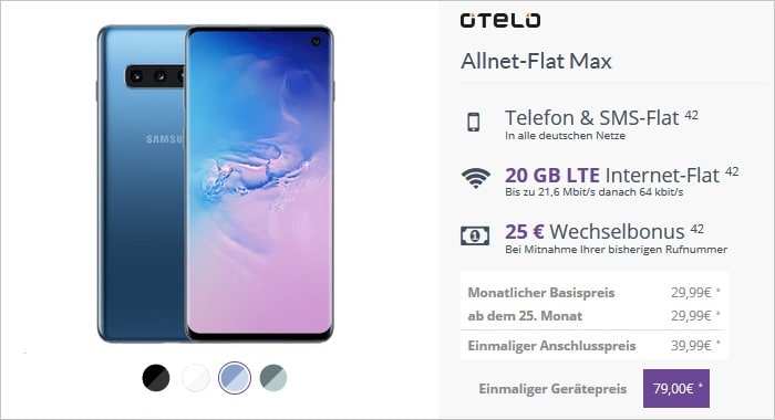 Samsung Galaxy S10 mit Otelo Allnet-Flat Max FLYmobile