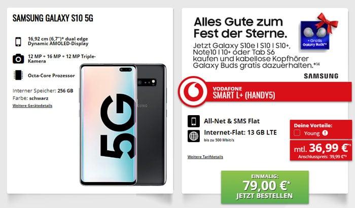 Samsung Galaxy S10 5G + Samsung Galaxy Buds + Vodafone Smart L Plus bei talkthisway