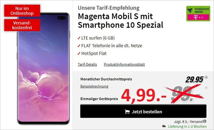 galaxy s10 plus + md magenta mobil s telekom bei mediamarkt