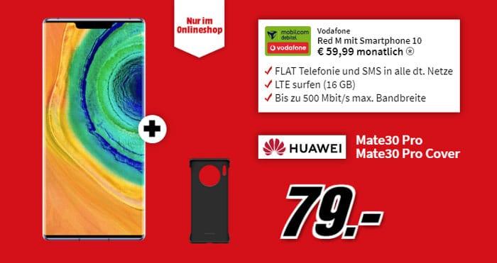 Huawei Mate 30 Pro + Huawei Mate 30 Pro Back-Cover + mobilcom-debitel Red M (Vodafone-Netz) bei MediaMarkt