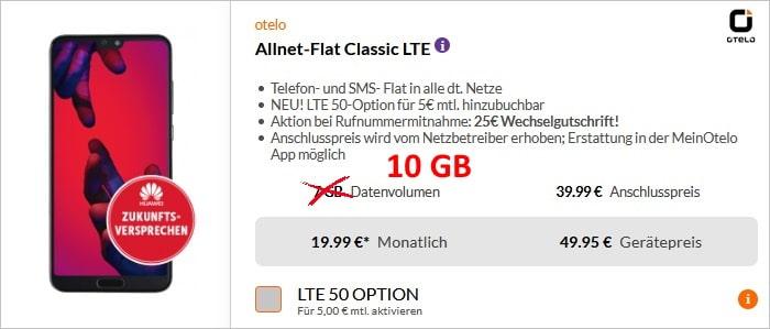 Huawei P20 Pro mit otelo Allnet Flat Classic bei Preisboerse24