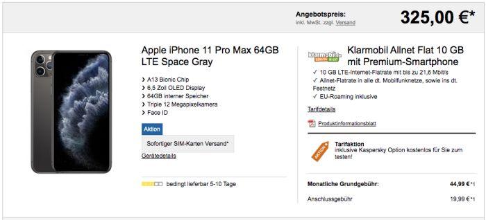 iPhone Pro Max mit Vertrag Klarmobil Allnet 10 GB (Vodafone-Netz)