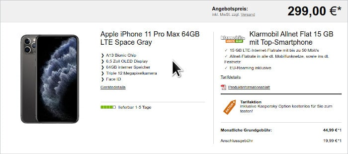 iPhone 11 Pro Max mit Vertrag Klarmobil Allnet 15 GB (Vodafone-Netz)