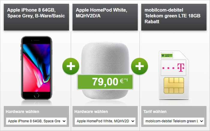 iPhone 8 (B-Ware) + Apple HomePod + mobilcom-debitel green LTE (Telekom-Netz) bei modeo
