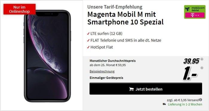 iPhone Xr + mobilcom-debitel Magenta Mobil M (Telekom-Netz) bei MediaMarkt