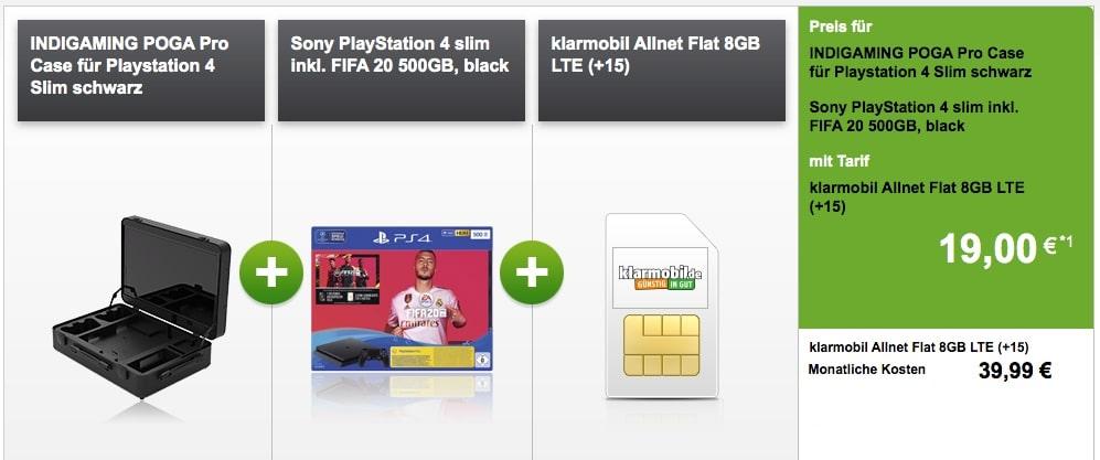 klarmobil Allnet Flat 8 GB (Vodafone-Netz) im Bundle mit PS4 Slim und Poga Gaming-Koffer
