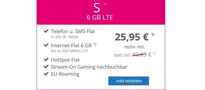 mobilcom-debitel Magenta Mobil S (Telekom-Netz) 6 GB LTE bei modeo
