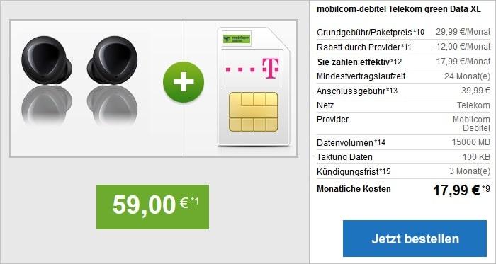 mobilcom-debitel green Data XL (Telekom-Netz) mit Galaxy Buds bei modeo