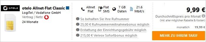otelo Allnet Classic 215 Bonus Verivox