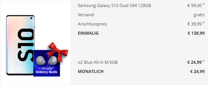 Samsung Galaxy S10 mit Vertrag O2 Blue M
