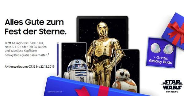 Gratis Galaxy Buds! Samsung Galaxy S10-, Note-10-Serie oder Galaxy Tab S6 bis zum 22.12.2019 bestellen