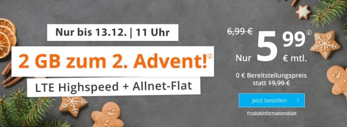 sim.de LTE All 2 GB Advent