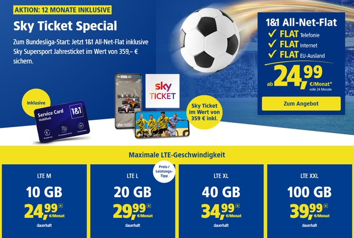 1&1 Allnet Flat (Telefónica-Netz) inklusive Sky Supersport Jahresticket