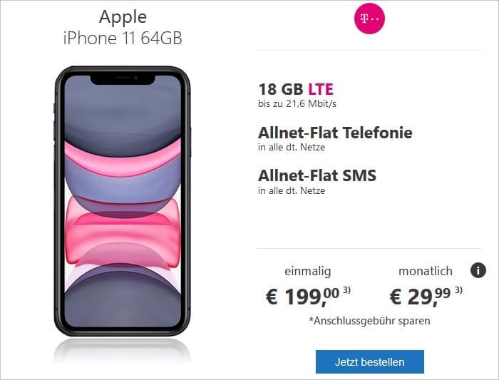 Apple iPhone 11 zum green LTE 18 GB im Telekom-Netz bei modeo