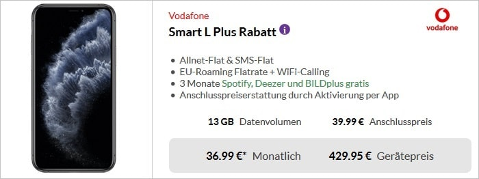 Apple iPhone 11 Pro + Vodafone Smart L Plus bei Preisboerse24