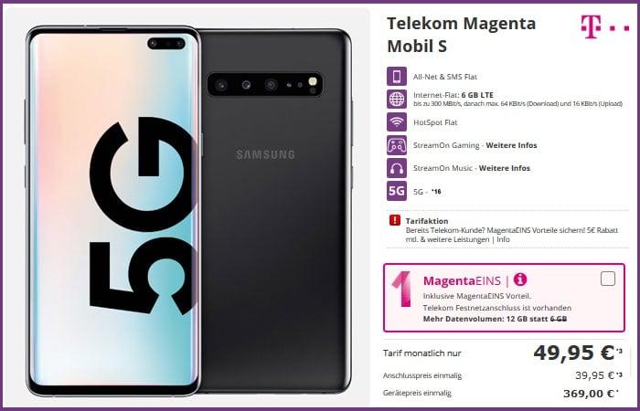 Samsung Galaxy S10 5G + Telekom Magenta Mobil M bei talkthisway