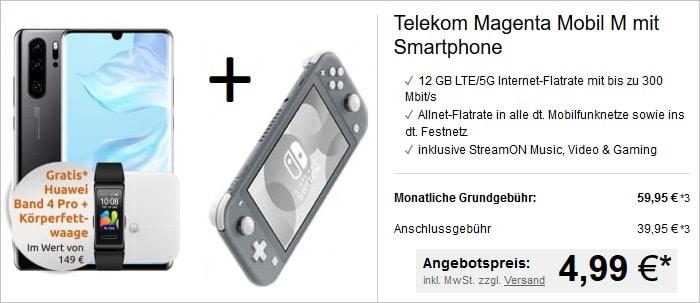 Huawei P30 Pro + Nintendo Switch + Band 4 Pro + Waage + Magenta Mobil M bei LogiTel