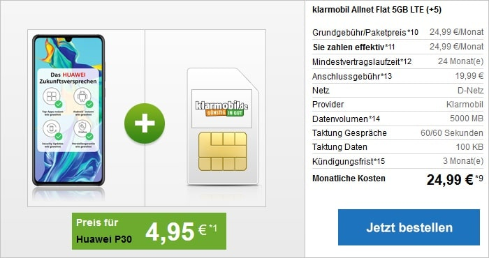 Huawei P30 + klarmobil Allnet Flat 5 GB LTE Vodafone-Netz bei modeo