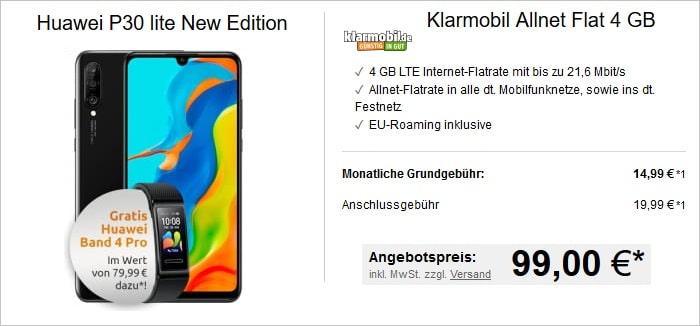 Huawei P30 Lite (New Edition) + klarmobil Allnet Flat 4 GB LTE im Vodafone-Netz