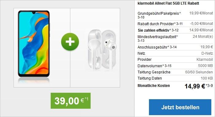 Huawei P30 Lite New Edition mit FreeBuds Lite als Zugabe zur klarmobil Allnet Flat 5 GB im Vodafone-Netz bei modeo