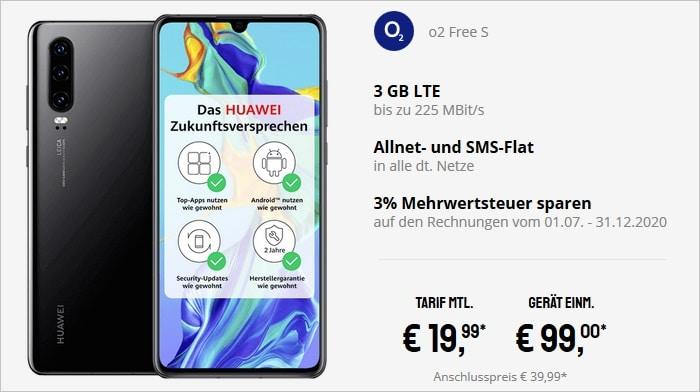 Huawei P30 mit o2 Free S bei Sparhandy