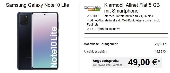 Klarmobil Allnet Flat 5 GBLTE mit Samsung Galaxy Note10 lite bei LogiTel
