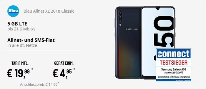 Samsung Galaxy A50 + Blau Allnet XL bei Sparhandy