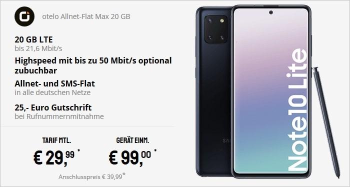 Samsung Galaxy Note 10 Lite mit otelo Allnet-Flat Max bei Sparhandy
