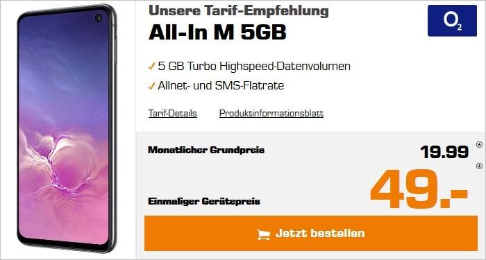 Samsung Galaxy S10e + o2 All-In M 5 GB bei Saturn