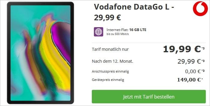 Samsung Galaxy Tab S5e LTE + Vodafone Data Go L bei talkthisway