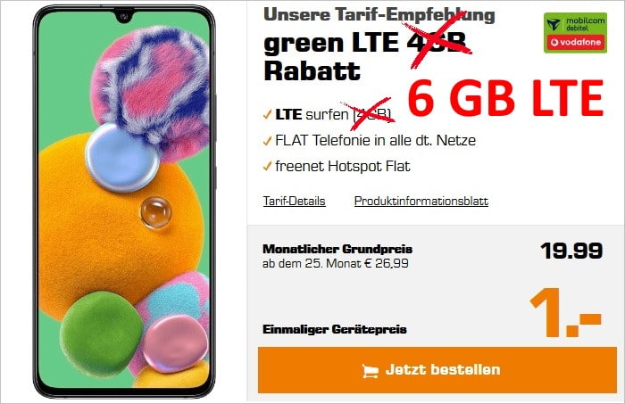 Samsung Galaxy A90 5G (Vodafone) + mobilcom-debitel green LTE (Vodafone-Netz) bei Saturn