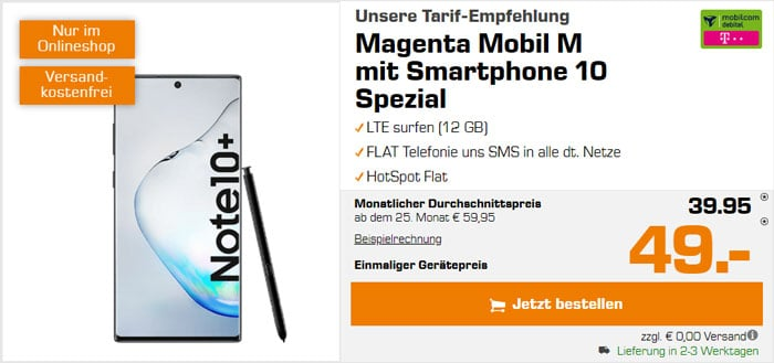 Samsung Galaxy Note 10 Plus + mobilcom-debitel Magenta Mobil M (Telekom-Netz) bei Saturn