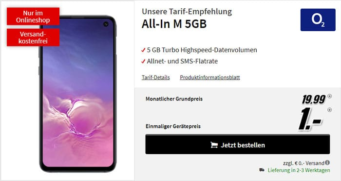 Samsung Galaxy S10 + o2 Blue All-in M bei MediaMarkt