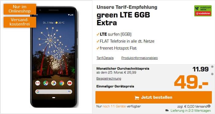 Google Pixel 3a + mobilcom-debitel green LTE (Vodafone-Netz) bei Saturn