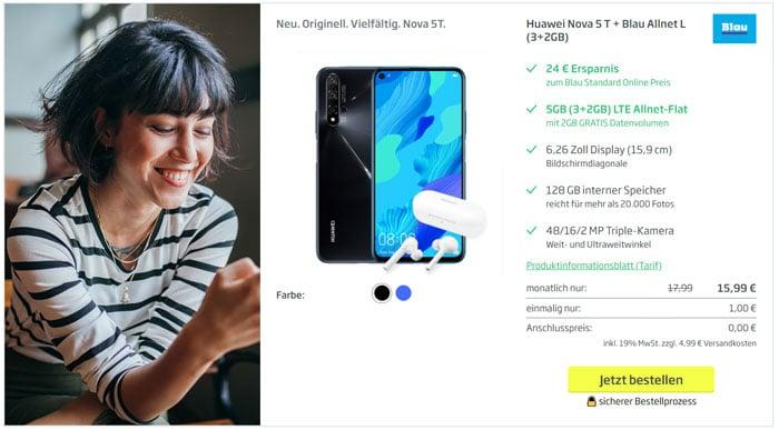 Huawei Nova 5T + Blau Allnet L