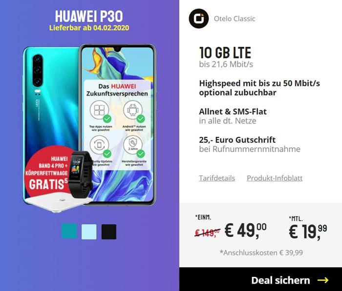 Huawei P30 mit otelo Classic im Vodafone Netz