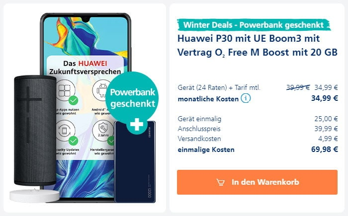 Huawei P30 + Ultimate Ears Boom 3 + UE Power-Up + Huawei SuperCharge 12.000 mAh Powerbank + o2 Free M Boost bei o2