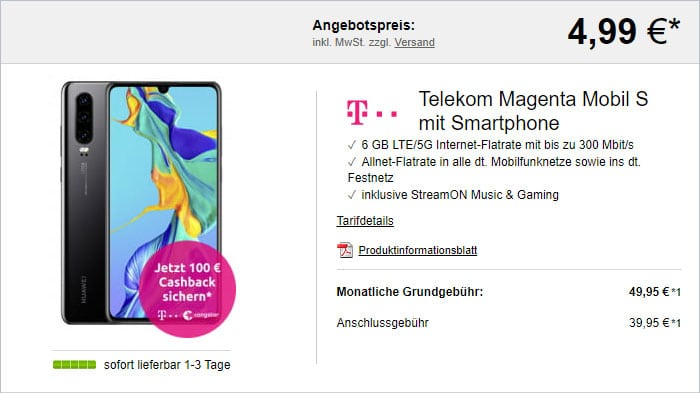 Huawei P30 + Telekom MagentaMobil S bei LogiTel