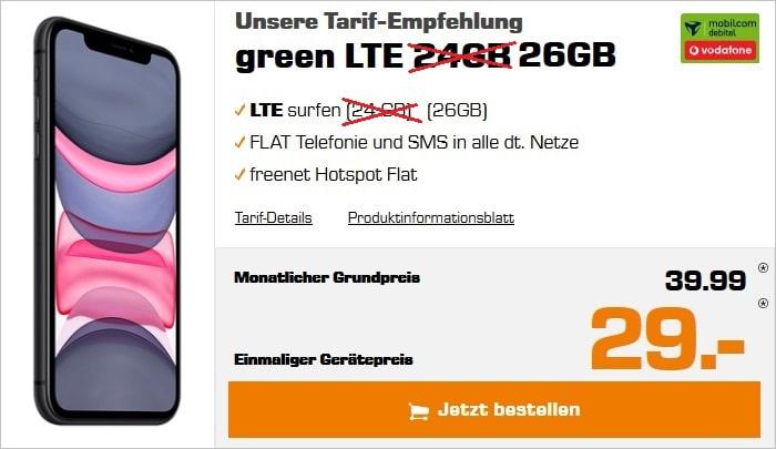 iPhone 11 + green LTE 26 GB Vodafone bei Saturn