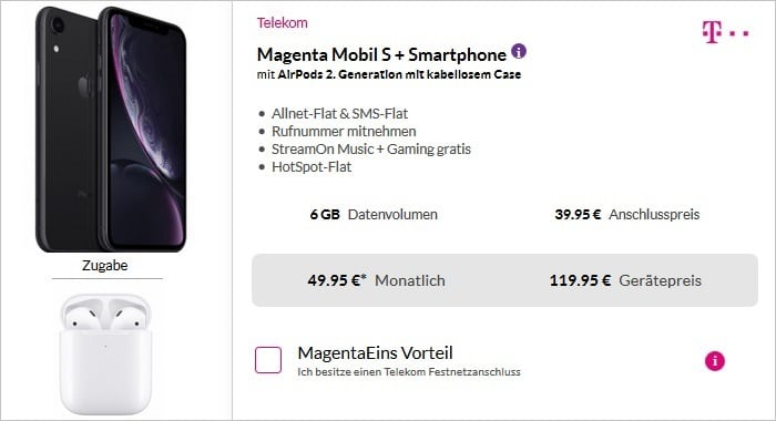 iPhone Xr Telekom MagentaMobil S inkl. AirPods 2