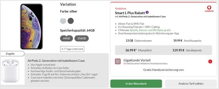 iPhone Xs mit Vertrag Vodafone Smart L Plus und AirPods 2 bei Preisboerse24