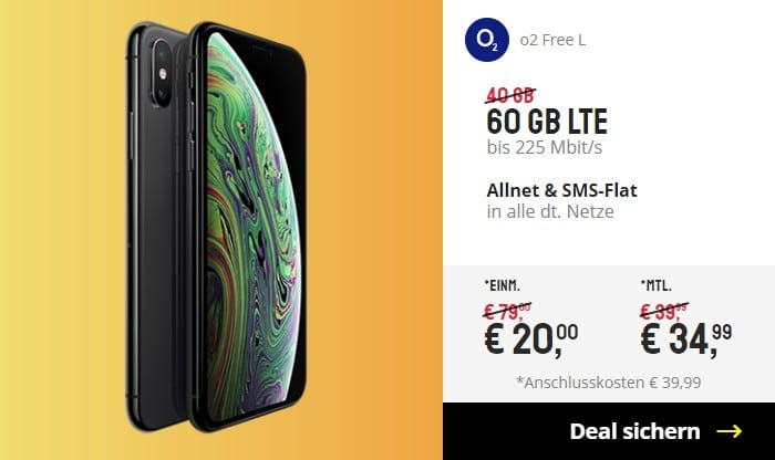iPhone Xs + o2 Free L bei Sparhandy