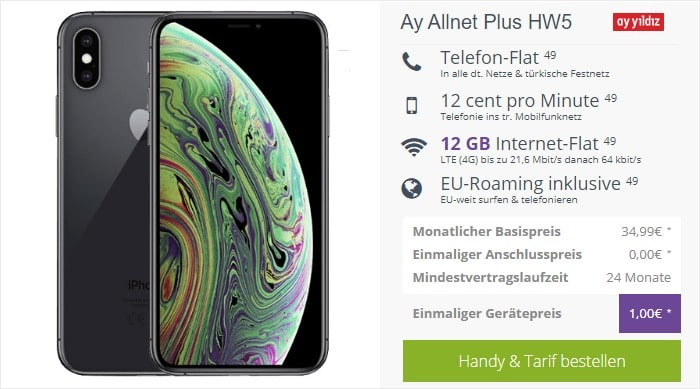 iPhone Xs + Ay Yildiz Ay Allnet Plus bei FLYmobile