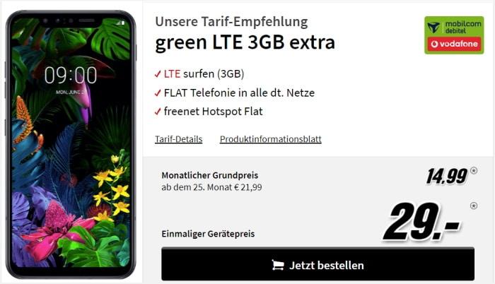 LG G8x mit Vertrag md Green LTE im Vodafone-Netz
