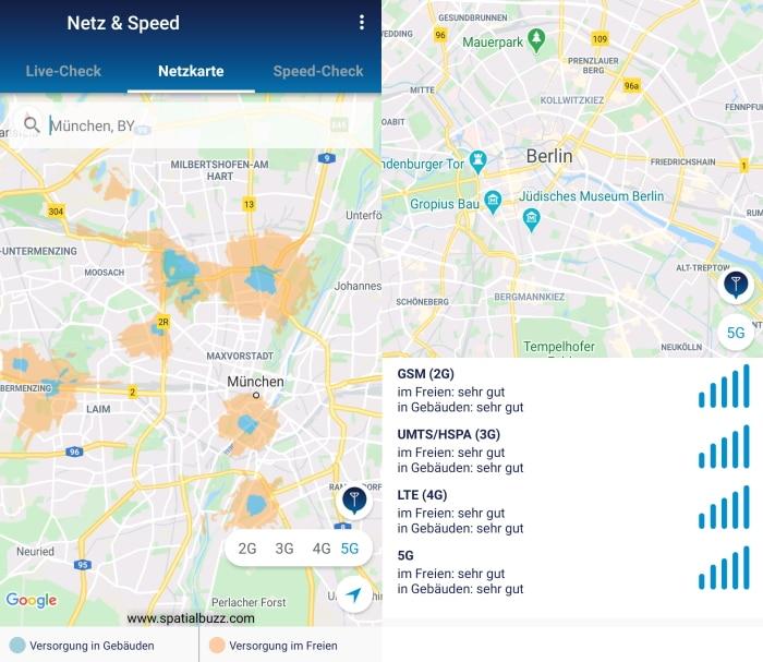 o2 Telefónica 5G Versorgung zum Start auf Netzkarte sichtbar