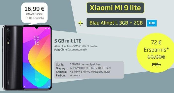 Xiaomi Mi 9 Lite + Blau Allnet L bei Curved