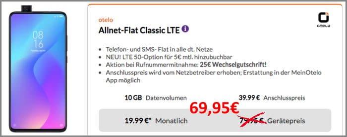 Xiaomi Mi 9T Pro + otelo Allnet-Flat Classic bei Preisboerse24