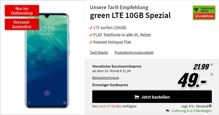 ZTE Axon 10 Pro + mobilcom-debitel green LTE (Vodafone-Netz) bei MediaMarkt